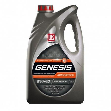 Лукойл Genesis Armortech, 5w40, SN/CF, моторное масло, синтетика, 4л,, Россия
