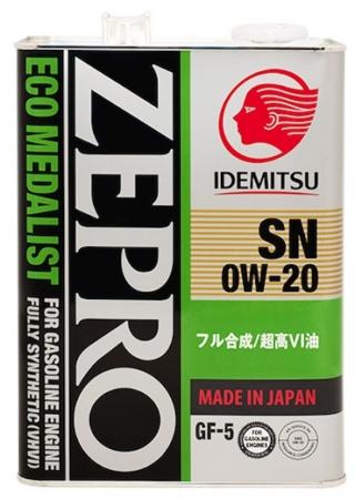 IDEMITSU  ID ZEPRO  ECO MEDALISN SN/GF5, 0w-20, моторное масло, синтетика, 4л, Япония