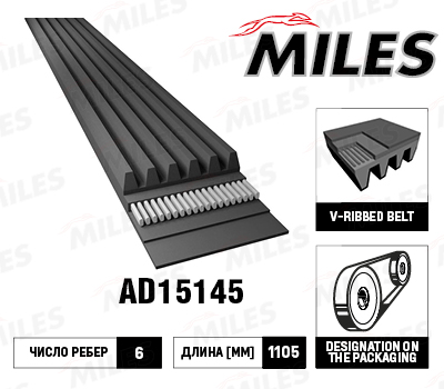 MILES, ремень поликлиновой, 6PK1105/AD15145, Китай