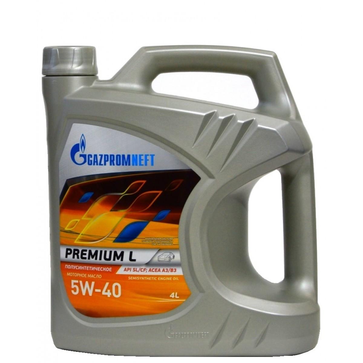 Gazpromneft Premium L, 5W-40, SL/CF, полусинтетика, 4л, Россия