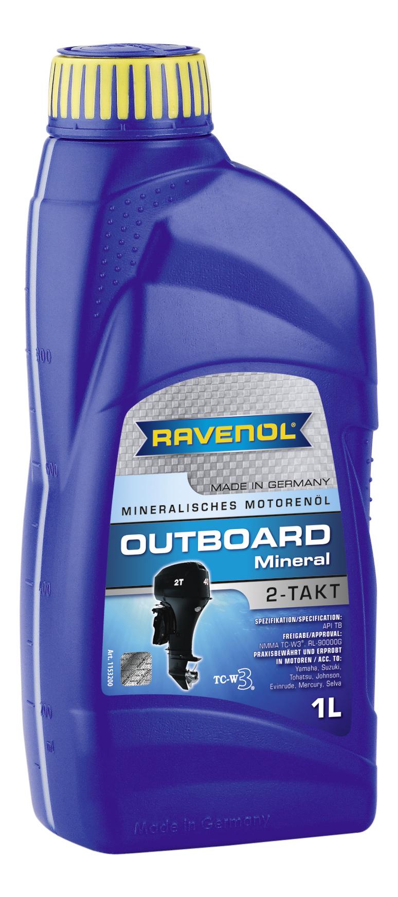 Ravenol Outboardoel 2T Mineral, для 2-хтактных, минеральное,1л, Германия