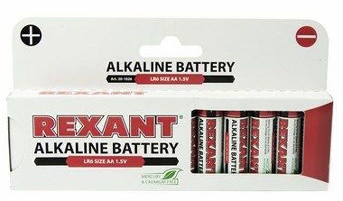 Rexant AA/LR6, алкалиновая батарейка 1.5V 2700 mAh, (пальчиковая), 1шт, Китай