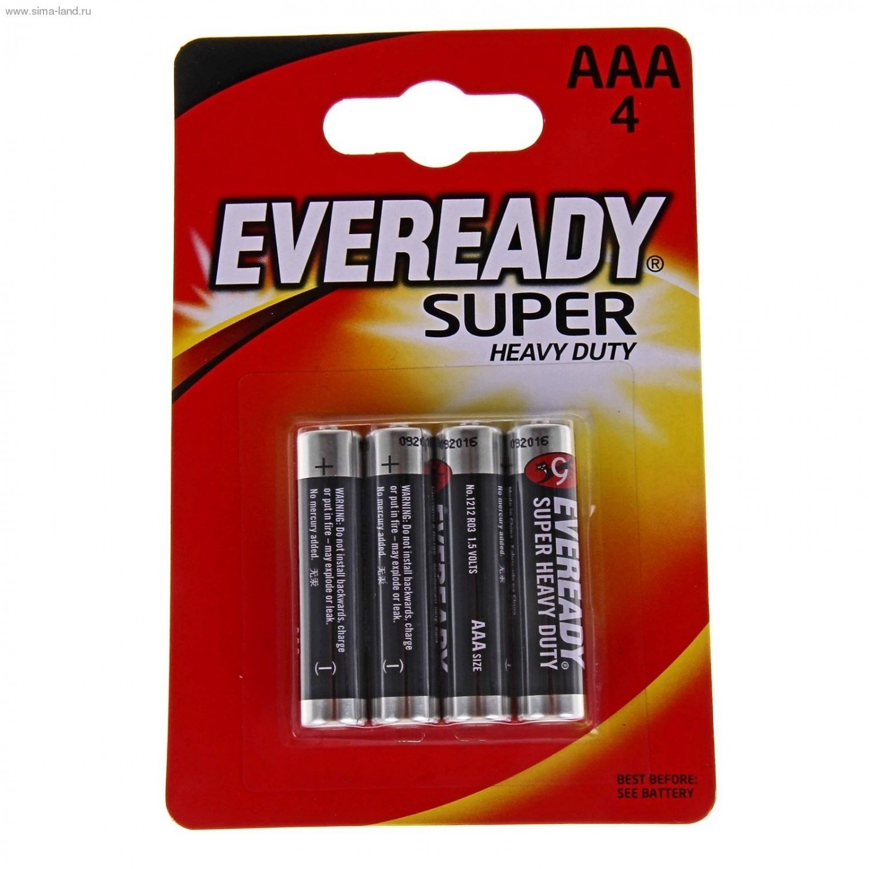 Energizer Eveready Super Heavy Duty, AAA/R03 (FSB4), батарейка (мизинчиковая), 1шт, Китай