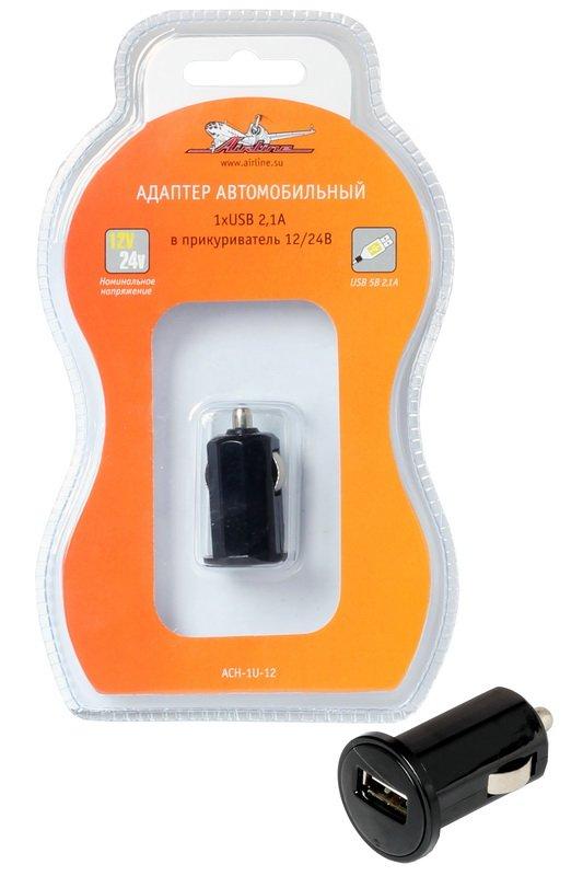 Зарядное устройство телефона 12v/24V выход USB 2,1A Чёрный, AIRLINE (ACH-1U-12)