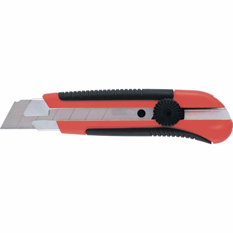 Нож, 25 мм, выдвижное лезвие, направляющая, двухкомп. корпус, винт.фиксатор., с магнитом, Matrix