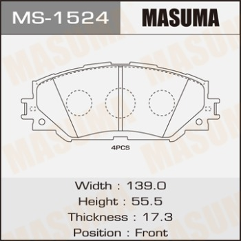 Masuma, Колодки дисковые,  MS-1524, аналог D2274, Япония