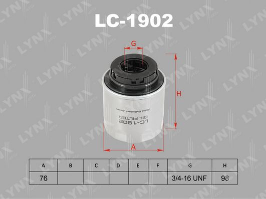 LYNX, Фильтр масляный, LC-1902,  Япония