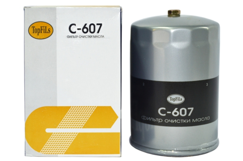 Фильтр масляный , TopFils, С-607/15607-2210, Корея