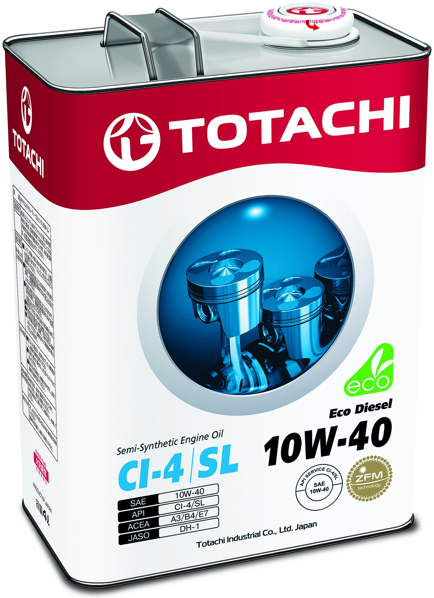 TOTACHI Eco DIESEL, 10W-40, CI-4/SL, полусинтетика,4л, Япония