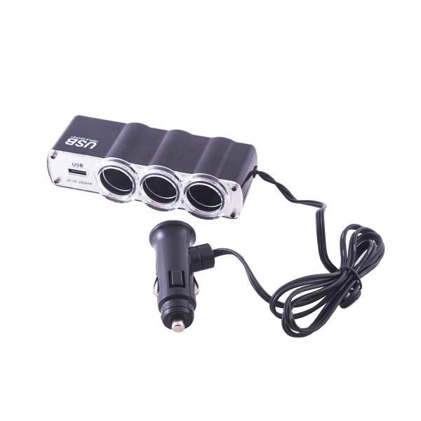 SKYWAY. Разветвитель прикуривателя 3 гнезда+ USB 1А. Черный, предохранитель 5А.