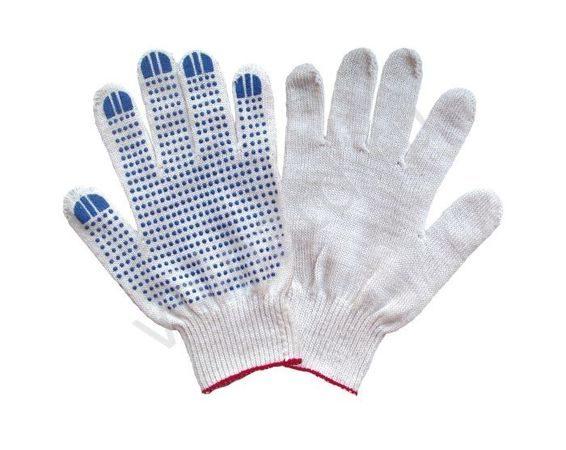 Перчатки х/б белые, «Резиновая точка» плотные (10класс 5нитей)