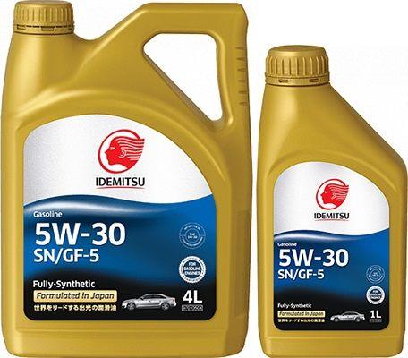 Акция (4л+1л) IDEMITSU FULLY - SYNTHETIC, SN/GF-5, 5w-30, синтетика, Япония
