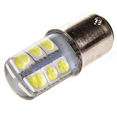 Светодиодная лампа, T25 (P21W/5W) 12V 12SMD диодов с цоколем 2 конт. БЕЛАЯ, 1157-12