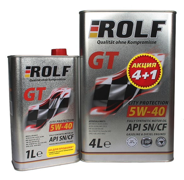 ROLF 5w40 GT SN/CF синтетика. 4л+1л. АКЦИЯ