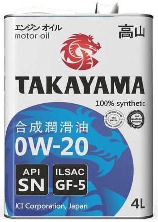 TAKAYAMA, 0w-20 SN ILSAC GF-5, моторное масло, синтетика, 4л, Япония