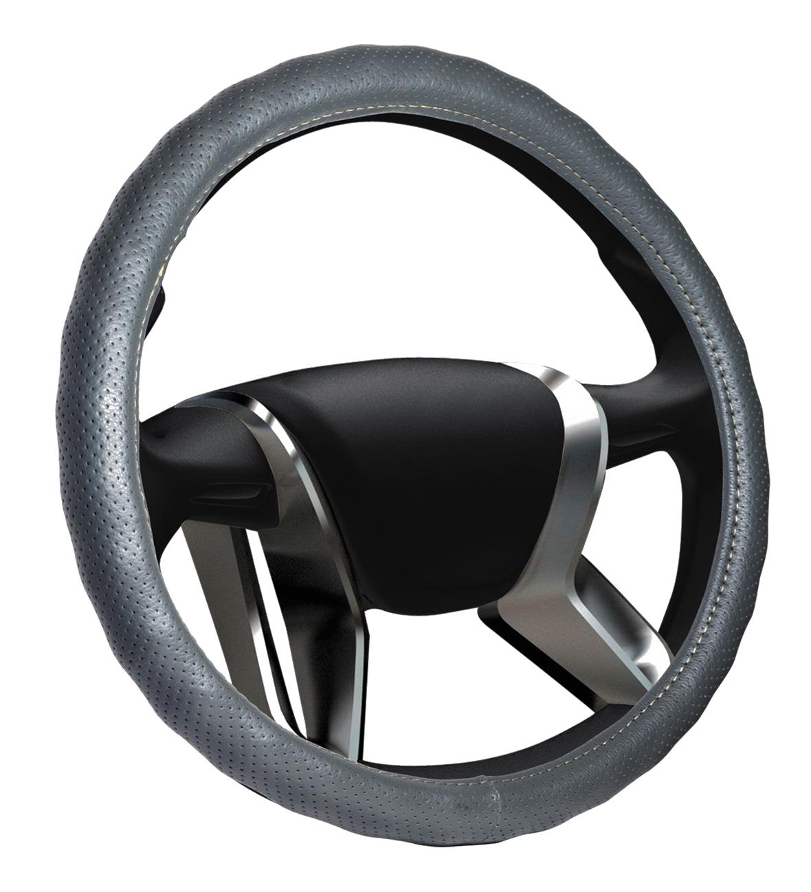 Azard, Оплетка на руль кожаная Senator Alabama «М» (d-38см) Серый,  OPLS0723