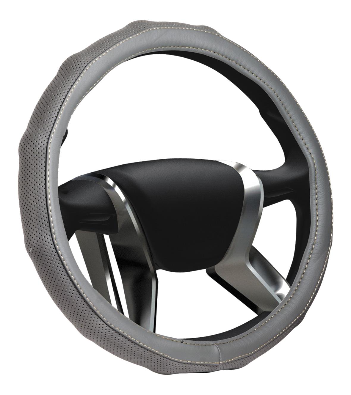 Azard, Оплетка на руль кожаная Senator California «М» (d-38см) Серый,  OPLS1303