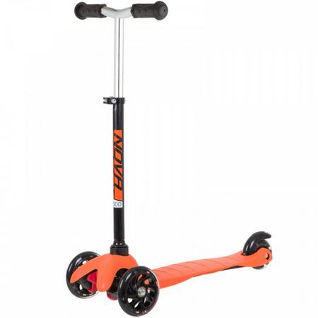 Самокат-кикборд Novatrack Disco-kids Basic, детский, свет.колеса PU черно-оранжевый 141007