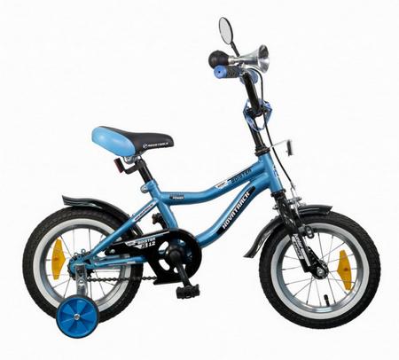 Велосипед 12», BOISTER, синий, перед.тормоз, пластиковые короткие крылья, гудок и зеркало.52491