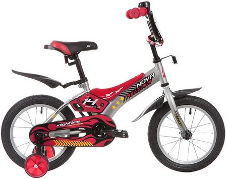 Велосипед NOVATRACK 14» FLIGHTLINE, серый, пластиковые короткие крылья 134047