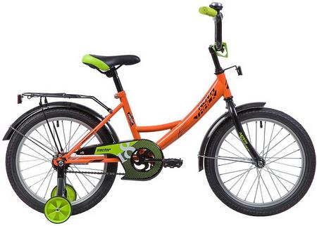 Велосипед NOVATRACK 18», VECTOR, оранжевый, защита А-тип, тормоз нож., крылья и багажн чёрн. 133936